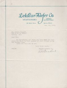 1931 Delabar Kiefer Co Stationers Office Outfitters Quincy IL Letterhead to Julius Kespohl