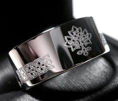 Tree of the Life Celtic Wedding Band Love Knot Ring, Mens Women Celtic Iris Ring