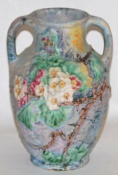 Weller Pottery Silvertone Floral Vase from Just Art Pottery