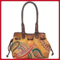Anuschka Anna by Handpainted Leather Draw-String Tote, Royal Paisley - Shoulder bags (*Amazon Partner-Link)
