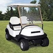 Classic Accessories Fairway Deluxe Portable Golf Car Windshield (Fits most golf cars with roofs) by Classic Accessories. $24.99. Amazon.com                Shield yourself from unexpected storms on the golf course with this portable golf cart windshield from Classic Accessories. The cover--which fits most popular golf carts using rip-and-grip straps--is made of heavy-duty clear vinyl that rolls up for easy storage yet won't crease or wrinkle. When a rain shower o...