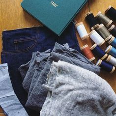 """My brain keeps turning #summerofbasics planning into a game of """"yes, and"""" ~ jeans ! And tee shirts ! A knit tank ! Wide legged pants ! And a bag ! And a bra !  So, going truly back to the basics with real deal #gingerjeans in Cone Mills denim that I started sewing this morning, and two tees out of deadstock linen knits. I'm thinking a #pennyraglan & a #larktee. And for all my summer sewing ambitions, I restocked another basic: beautiful organic cotton thread from @organiccottonplus…"""