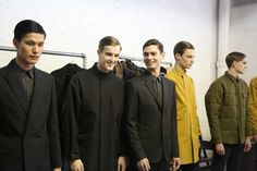 Dae Na, James Smith, Arthur Gosse, Otto and Robert Laby backstage at Perry Ellis by Duckie Brown FW13. See full coverage at www.styleminutes.com