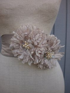 Handmade Bridal Sash With two  Unique Design Flowers by deniz03, $65.00