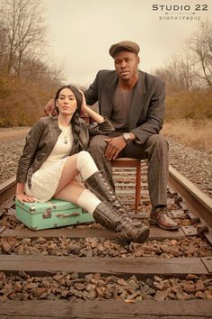Studio 22 | Model | Photoshoot | Couple | pose | dslr | outdoors | photography | school desk | books | antique | retro | train tracks