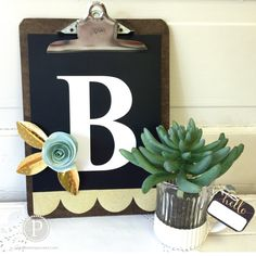 Monogram Clipboard and 3 Dimensional Paper Flower Tutorial!