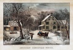 """1972 Vintage Currier /& Ives /""""WINTER IN THE COUNTRY COLD MORNING COLOR Lithograph"""