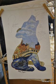 Who's Afraid of Abingdon's Wolves? Melinda painted a wolf pup for Ludovina's Fresh Italian Market and the Town of Abingdon, VA. It has a cereamic beret, mustache, and pasta bowtie. They will be auctioned off in October.