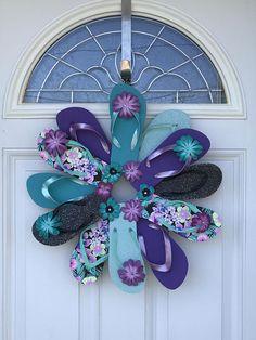 Flower Flip Flop Wreath Door Wall Decor Beachy/Pool/Ocean