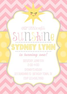 You Are My Sunshine Birthday Invitation by EmmyJosParties on Etsy