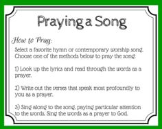 Printable Prayer card for using music as a prayer
