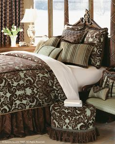 Bedding and Accesssories from Eastern Accents; custom bedding options for comforters, shams, pillows