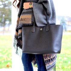 IG @mrscasual <click through to shop this look> Poncho.  Maternity skinny jeans.  Tory Burch Black Perry tote.  Michael kors black watch.