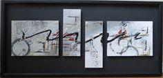 "Abstract Art ""Lattice Flow"" By Faye Sawatzky 2013 Acrylic on Canvas 18"" x 40"" $295.00 (framed) Website:  www.facebook.com/fayes.art"