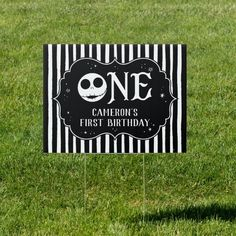 Jack Skellington First Birthday - ONE Sign Jack Skellington, First Birthdays, Christmas Birthday, Nightmare Before Christmas, Keep It Cleaner, Outdoor Signs, Flags, My Favorite Things, Disney