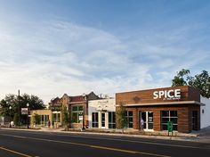 fort worth dallas historic architect adaptive reuse mixed use sustainable restaurant office retail spice proper bar wf lawrence 24 plates. Mall Facade, Retail Facade, Retail Architecture, Commercial Architecture, Building Exterior, Building Design, Lancaster, American Cafe, Modern Colonial