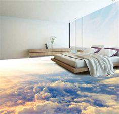 WALK ON CLOUDS!Dreamlike Sky Floor Mural Photo Flooring Wallpaper Home Printing Decoration. pvc floor waterproof self adhesive wallpaper customize high quality wallpaper The underwater world floor wallpaper 3d Floor Art, 3d Floor Painting, Floor Murals, Wall Murals, Sol 3d, 3d Clouds, Floor Wallpaper, Adhesive Wallpaper, Modern Bathrooms