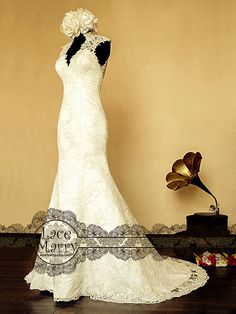 Lace Wedding Dress Features Illusion Deep V-Cut by LaceMarry, $312.00