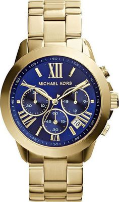 Michael Kors Navy Dial Gold Tone Stainless Steel Lady Chronograph MK5923 | Skroutz.gr