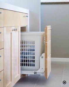 Custom cabinetry / bathroom vanity with hamper - Home Decor Design Luxury Master Bathrooms, Rustic Bathrooms, Small Bathroom, Bathroom Spa, Bathroom Ideas, Master Baths, Bathroom Bench, Bathroom Laundry, Ikea Bathroom