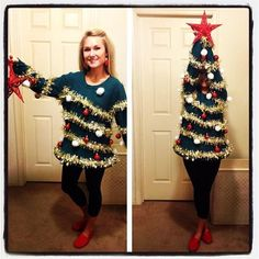 Brilliant home made Christmas jumper / human Christmas tree outfit! Soooo trying this!! | Click for lots of cheesy and silly Christmas ideas...