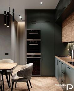 Elegant Kitchen countertops apartment diy Best smart kitchen lighting ideas & tips 17 Related Loft Kitchen, Kitchen Room Design, Smart Kitchen, Green Kitchen, Kitchen Cabinet Design, Modern Kitchen Design, Home Decor Kitchen, Kitchen Living, Interior Design Kitchen