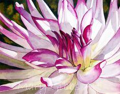 """Sunlit Dahlia"". © Mary Gibbs (http://marygibbsart.com/index.html). #Dahlia #Dahlias"