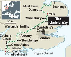 Map showing The Icknield Way Travel Uk, Financial Times, Stonehenge, Scotland Travel, Pilgrimage, Pathways, Great Britain, Maps, Ireland