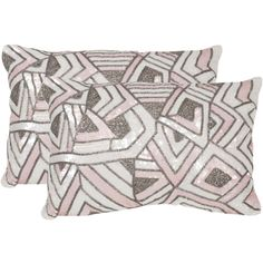 Evoking Hollywood glamour, the luxe set of two Ricci pillows in pale pink by Safavieh is Deco-inspired.