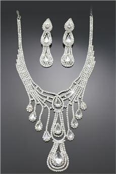 Elegante Conjunto de Joyería de Novia con Diamantes de Imitación (Incluye Collar y Pendientes)