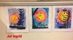 Zie de maan schijnt..... Verven met waterverf Crafts For Kids, Artwork, Decor, Crafting, School, Planets, Night, Crafts For Children, Work Of Art