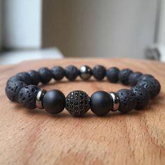 Mens-8MM-Lava-Rock-Gunmetal-Disco-Zircon-Ball-Bracelet-Gemstone-Beaded-Bracelet