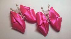 Канзаши бабочка бантик из лент/МК/DIY/Kanzashi butterfly bow with ribbons - YouTube