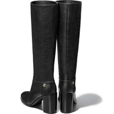 High Boots Calfskin Black - view 3 - see full sized version Dressy Shoes, Cute Shoes, Me Too Shoes, Flat Boots, Knee High Boots, Chanel Brand, Shoes World, Chanel Shoes, Luxury Shoes