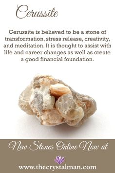 Cerussite ~ Transformation-Stress Release-Creativity-Meditation-Life Changes-Career Changes-Finances Shop new crystals online now at The Crystal Man!