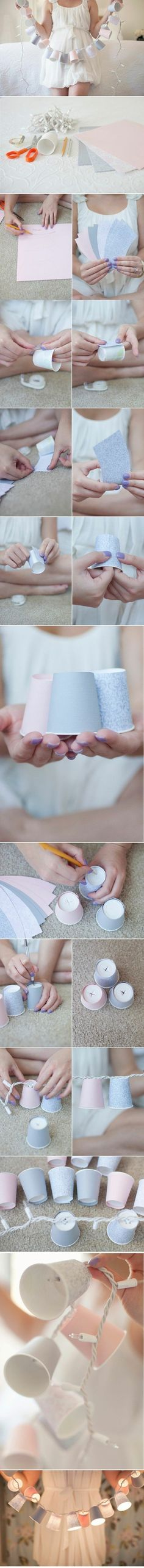 DIY Cover Dixie cups with fancy paper to make small shades for string lights.