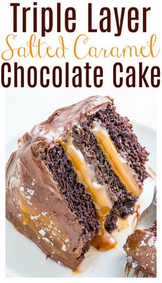 Salted Caramel Chocolate Cake - Baker by Nature Salted Caramel Chocolate Cake, Homemade Chocolate Frosting, Chocolate Caramels, Chocolate Recipes, Caramel Deserts, Chocolate Cakes, Delicious Desserts, Dessert Recipes, Instant Pot