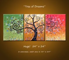 Original Large Abstract Painting Modern Trees