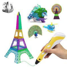 PLUSINNO DIY Scribbler Impresora 3D Pen con Pantalla LCD para 3D Scribbler impresión, Dibujo y Doodling + 13 filamento PLA (10 Colores Diferentes) + 10 Modelos de Papel para práctica UE (Amarillo): Amazon.es: Juguetes y juegos 3d, Christmas Ornaments, Holiday Decor, Home Decor, Templates, Printers, Impressionism, Yellow, Toys