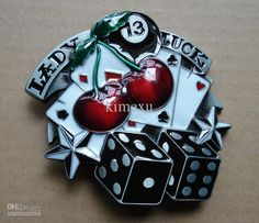 SW-B409 Wholesale Brand New Lady Luck 13 Cherry Dice Belt Buckle Online with $18.91/Piece on Kimexu's Store | DHgate.com