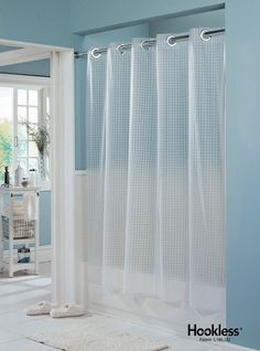 HooklessR Shower Curtain Textured Box Partially Transparent White Fabric 774 HBH40TXB01X