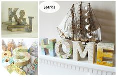 Até com mapas se podem forrar as letras de cartão! Fantástico! Encontre letras, números, caixas e muito mais na { DO ART }