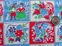 Vintage Feed Sack Novelty Cotton Fabric Piece PRETTY by anne8865