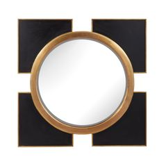 Elk Lighting Coined Regency Wall Mirror - 36W x 36H in. | from hayneedle.com Dimensions: 36W x 2D x 36H in. Geometric wood frame with negative space Black and gold finish
