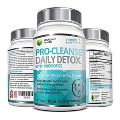 PROCLEANSE Daily Detox Formula with Probiotics  60 Veggie Caps  1100mg Per Serving  Supports Natural Weight Loss  Increased Energy Levels  Gentle Effective Relief with No Harsh Side Effects * Want to know more, click on the image.
