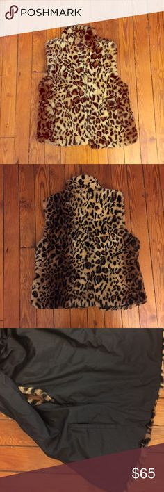 Vintage Leopard Print High Quality Faux Fur Vest Vintage Leopard Print High Quality Faux Fur Vest. Has two pockets outside. Has soft black leathery interior with two pockets inside. It fits like a large but go by measurements. I think it could also work for a Medium and def an XL. Bundle and Save$$$. Measurements: Bust: 40 in Shoulders: aprx 16 in  Length: 26 in  Waist: 40 in Vintage Jackets & Coats Vests