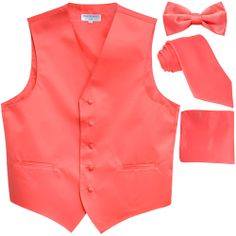 New Men's Formal Tuxedo Vest Waistcoat_Necktie Coral wedding party prom Mens Formal Vest, Men Formal, Buy Suits, Formal Tuxedo, Tailored Fashion, Slim Fit Tuxedo, Tuxedo Vest, Suit Vest, Vest Men