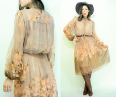 50% OFF SALE... Taupe Blush 70's Peach Floral by viralthreads