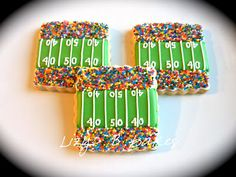 Football cookies! I love how the sprinkles are the fans in the stand... I wonder if I can get those in just blue/red haha