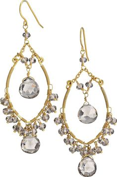Stella Dot Juliette Gem Drops  of faceted smoked glass